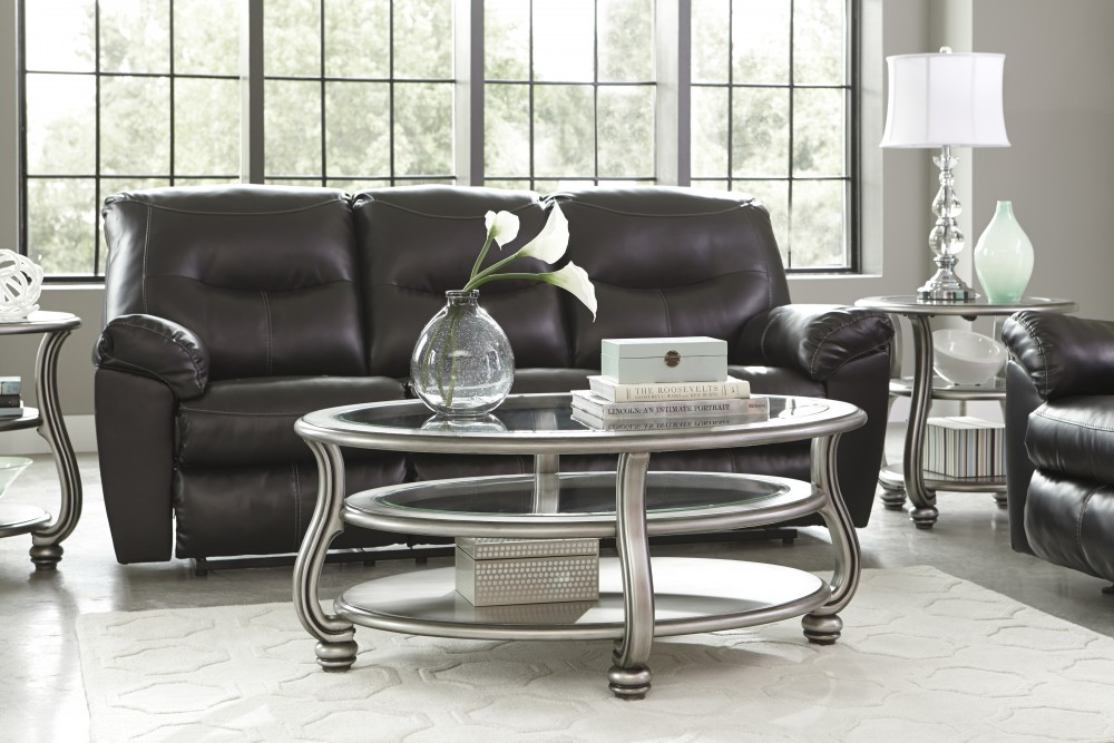 Coralayne Silver Finish Oval Cocktail Table T Cocktail - Ashley furniture oval coffee table