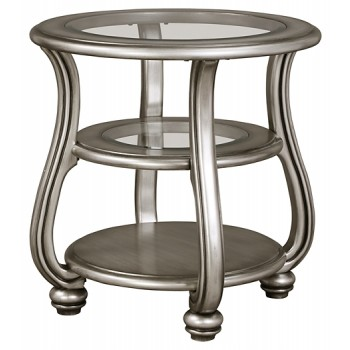Coralayne - Silver Finish - Round End Table