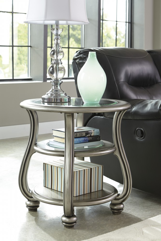 Superbe Coralayne   Silver Finish   Round End Table