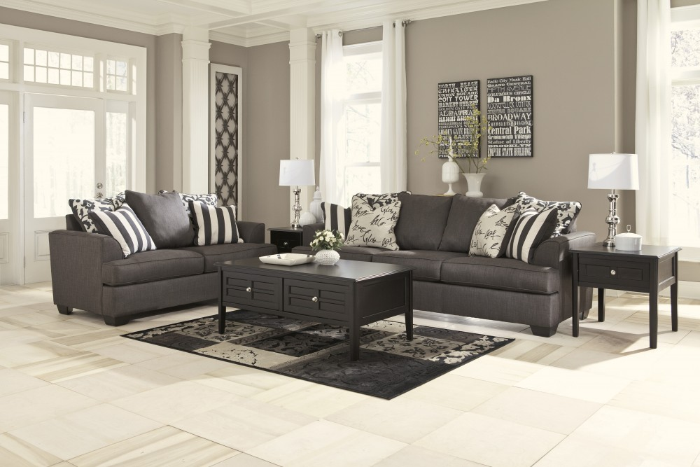 Levon - Charcoal - Sofa & Loveseat