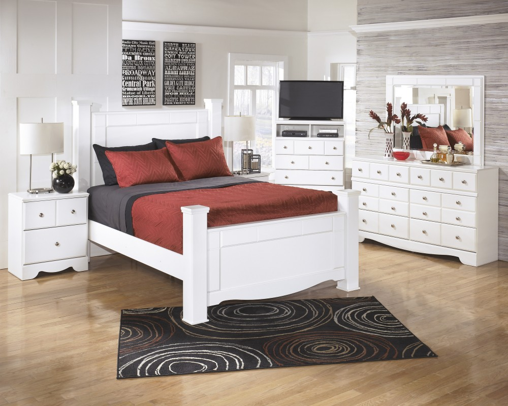 weeki 6 pc bedroom dresser mirror queen poster bed - White Bedroom Dresser