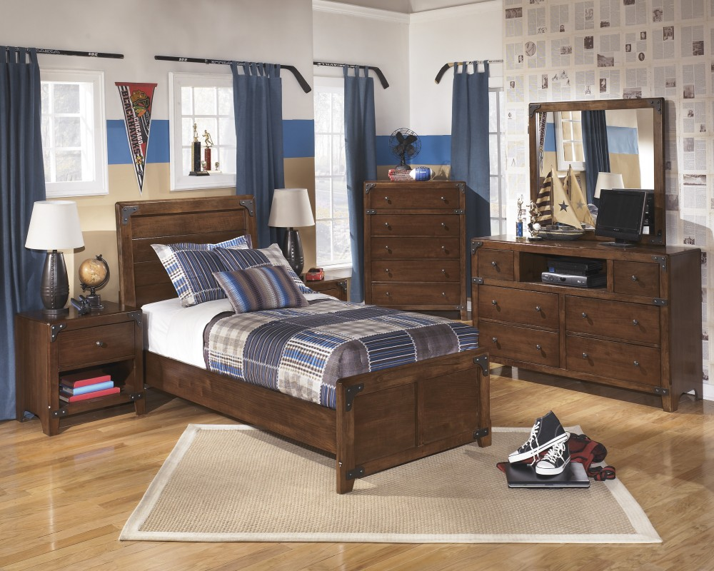 Delburne Dresser, Mirror & Twin Panel Bed