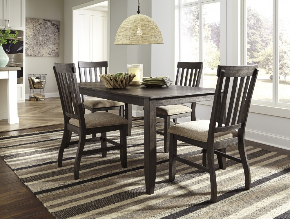 Remarkable Dresbar Grayish Brown Rectangular Dining Room Table 4 Uph Side Chairs Interior Design Ideas Inesswwsoteloinfo