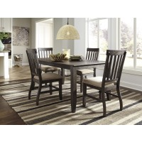 Dresbar - Grayish Brown - Rectangular Dining Room Table & 4 UPH Side Chairs