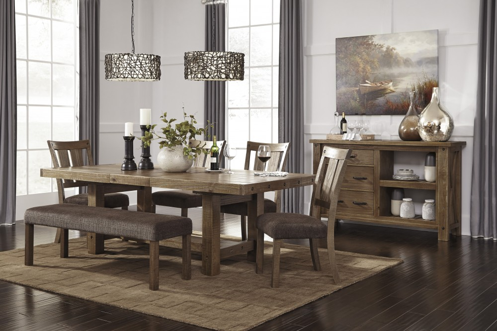 Tamilo - Gray/Brown - RECT Dining Room EXT Table, 4 UPH Side Chairs & UPH Bench