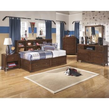Delburne Dresser, Mirror & Twin Bookcase Bed with Storage