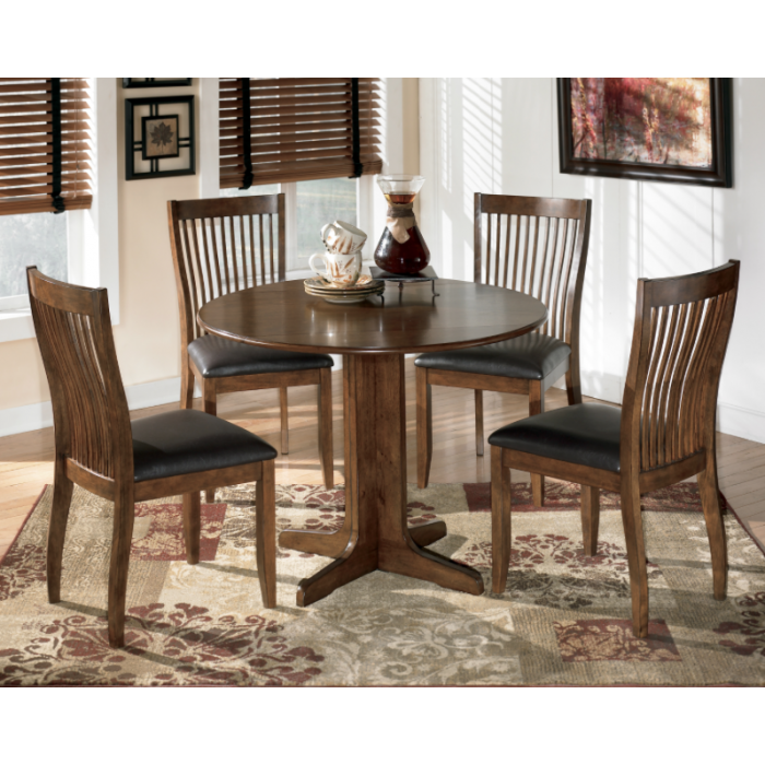 Stuman Round Drop Leaf Table & 4 UPH Side Chairs