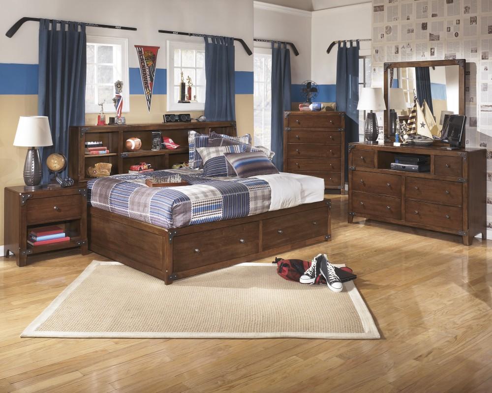 Delburne Dresser, Mirror & Full Bookcase Bed with Storage