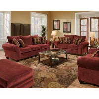 AMERICAN FURNITURE MANUFACTURING Masterpiece Burgundy Chair and 1/2