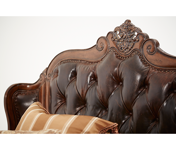 Amini Cal King Wing Mansion Bed W Leather Tufted Inserts