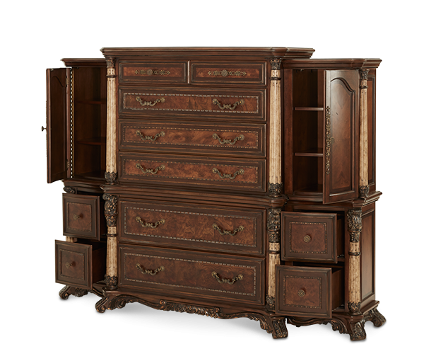 Dining Room Chest Of Drawers: AMINI 6 Drawer Chest With Left And Right Piers