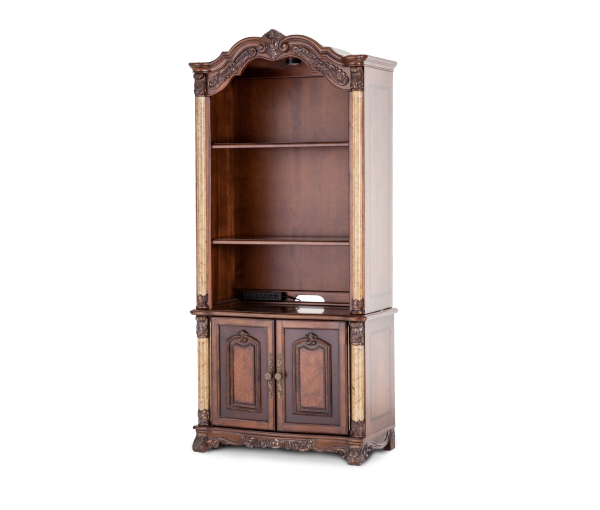 in hutch golden anigre bookcases doors w glass bush bookcase magnifier