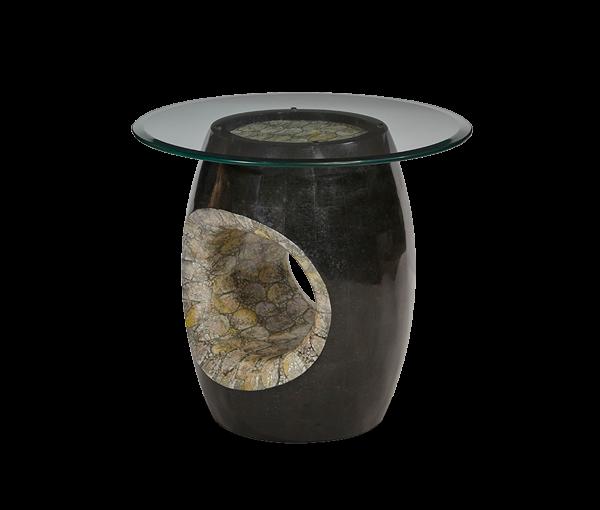 AMINI Round Accent Table W/Glass Top U0026 Blackstone