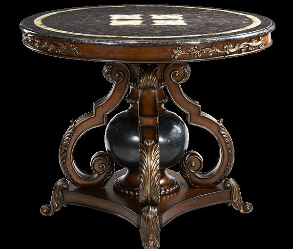 AMINI Lobby Table W/Blacklip Trim U0026 Blackstone Ball (2 Pc)