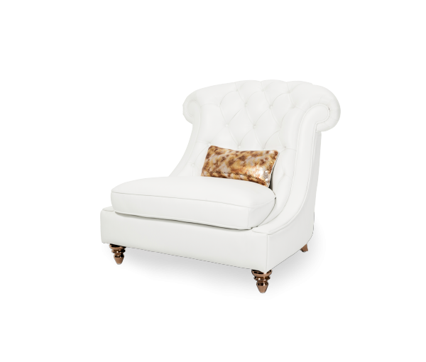 AMINI Damario Tufted Chair And A Half In White Gold