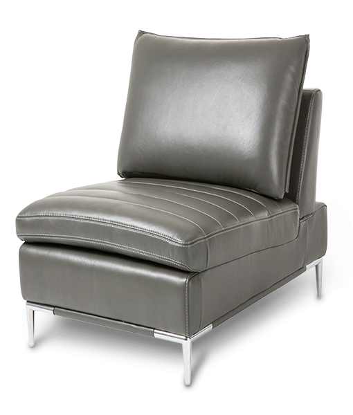 armless leather chairs. AMINI Lazzio Leather Armless Chair In Graphite St.Steel Chairs