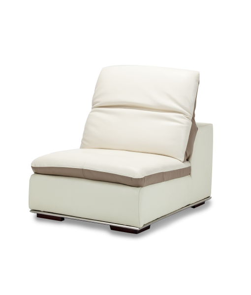 AMINI Vanuto Leather Armless Chair In Eggshell/Taupe St.Steel