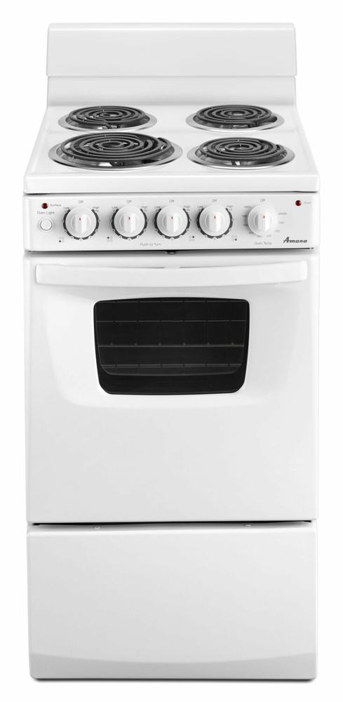 AMANA 20-inch Amana(R) Electric Range with Versatile Cooktop - white