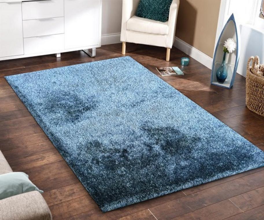 5x7 Amore Blue Shag Floor Rug