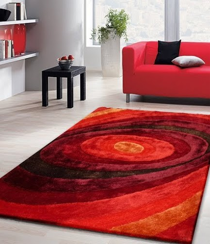 5x7 Living Shag Red Floor Rug