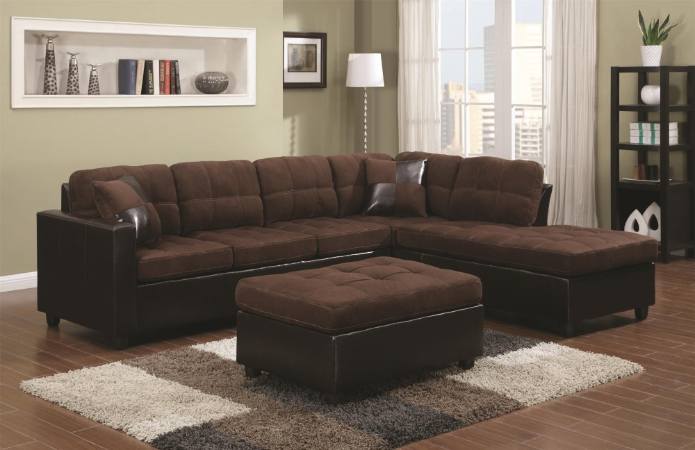 Mustang Chocolate Reversible Sectional