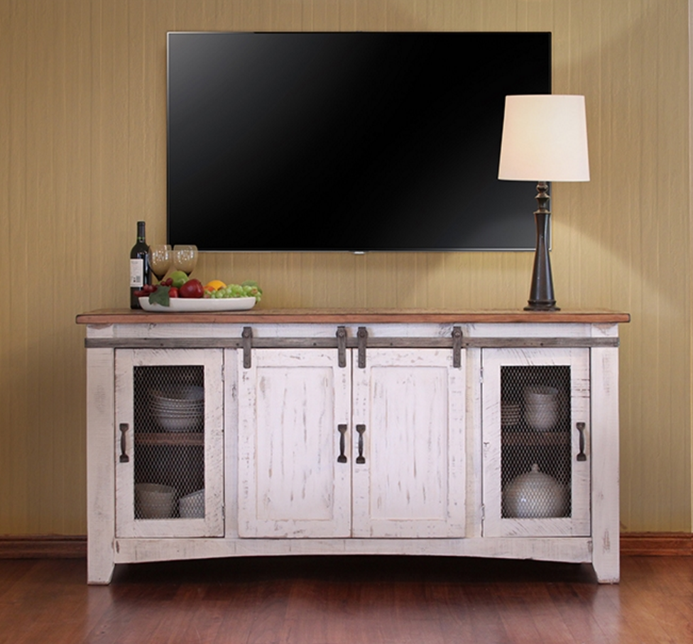 60 inch tv stand Pueblo White Collection   60