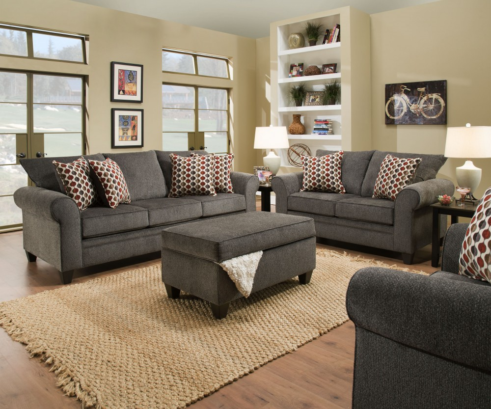 Optical Pewter Sofa & Love Group
