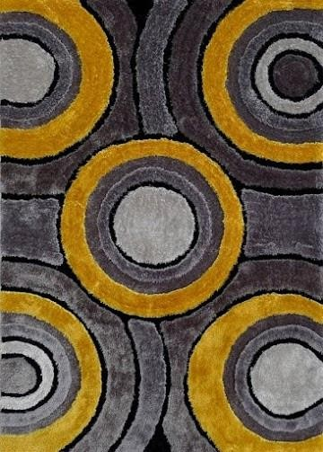 Living Shag 5'x7' Floor Rug - #110 Gray/Yellow