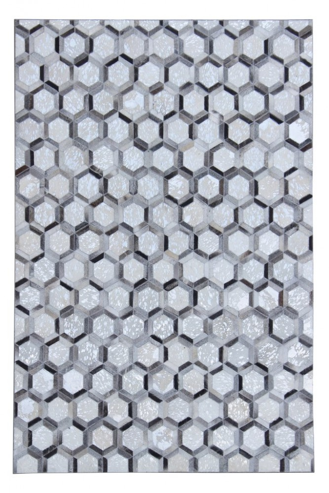 Leather Patchwork Collection 5'x7' Floor Rug - Silver Metallic