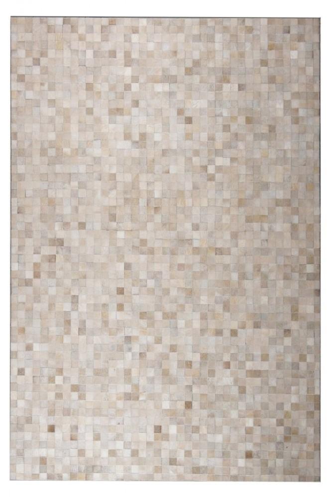 Leather Patchwork 5'x7' Floor Rug - Tikkul Beige