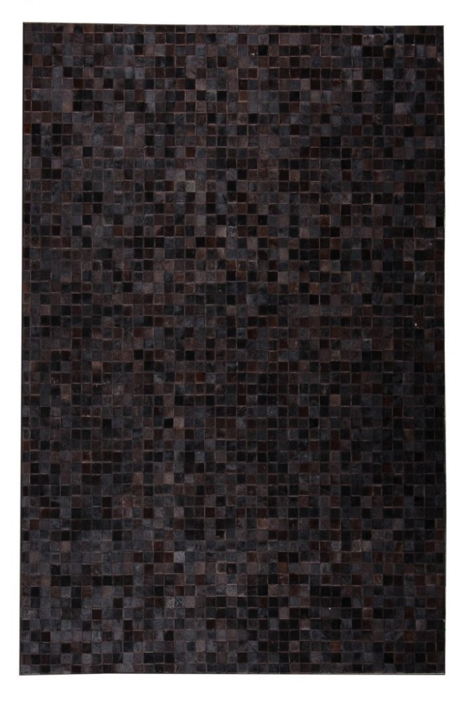 Leather Patchwork 5'x7' Floor Rug - Tikkul Cola