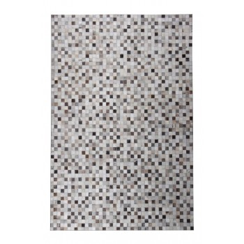 Leather Patchwork 5'x7' Floor Rug - Tikkul Grey
