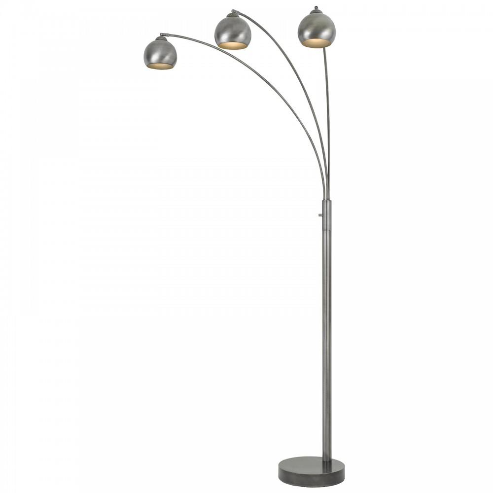 60w 3-Way Metal Arc Floor Lamp - Antique Silver