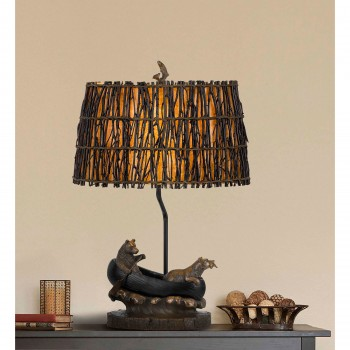 Bear In Canoe Table Lamp