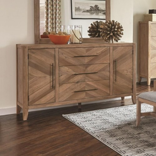 Scott Living White Wash Collection 3 Drawer 2 Door Dresser