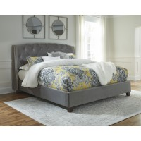 Kasidon - Gray Velvet - Queen  Upholstered Bed