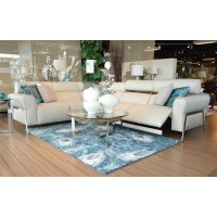 Eleganza Cream Leather Reclining  Sectional