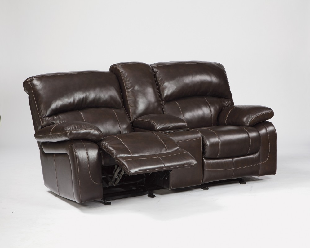 Damacio - Dark Brown - Glider REC Loveseat w/Console
