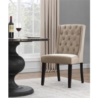Espresso Camel Fabric Dining Chair