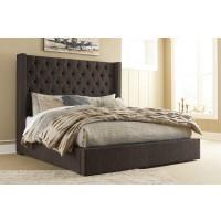 Norrister King - Dark Brown - Upholstered Bed