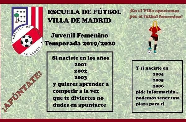 La EF Villa de Madrid prepara equipo Juvenil Femenino para la temporada 2019/20 - ¡ Apúntate !