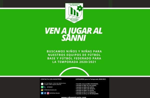 Pre-Inscripción jugadores/as nuevos Temporada 2020/2021 en el C.D. A.V. San Nicasio (Leganés)