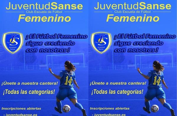 ¡El Fútbol Femenino sigue creciendo con nosotras!, ¡Únete a la cantera del Juventud Sanse!. Puedes Preinscribirte gratuitamente desde la web www.juventudsanse.es