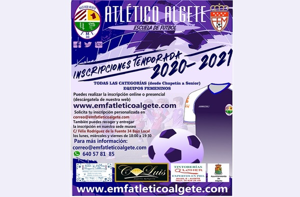 Periodo de inscripción abierto en la EMF Atlético Algete - Temporada 2020/21