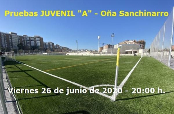 """Pruebas para el Juvenil """"A"""" del Oña Sanchinarro, el 26 de junio de 2020"""