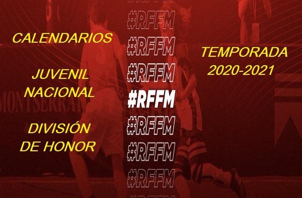 Calendarios de los subgrupos de Liga Nacional Juvenil y de los de División de Honor con equipos madrileños