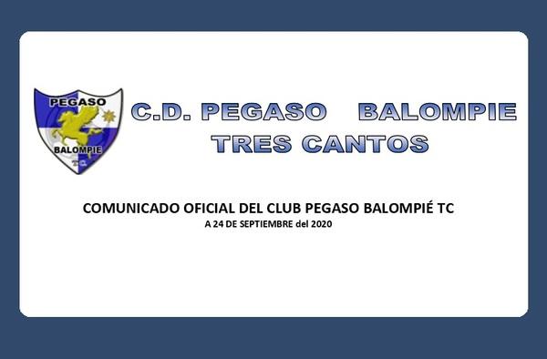 Comunicado Oficial del Pegaso Balompié Tres Cantos ante el supuesto intento de usurpación de la marca y del logo del club