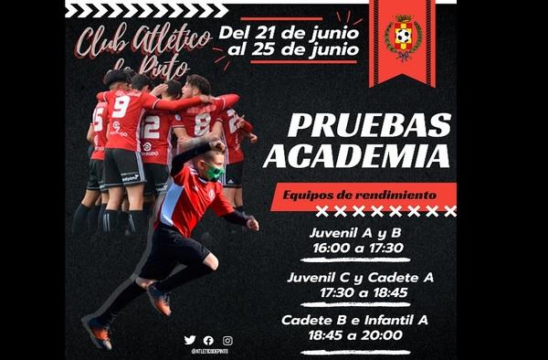 Pruebas de Acceso Cantera Atlético de Pinto - Del 21 al 25 de Junio de 2021