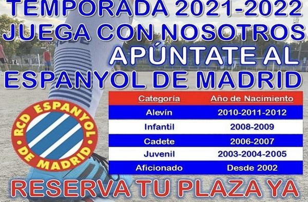 Reserva tu plaza en el RCD Espanyol de Madrid - Temporada 2021/22