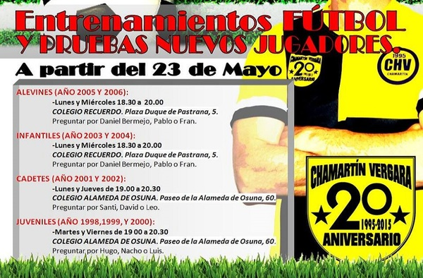 Entrenamientos y pruebas para nuevos jugadores en el C.D. Chamartín Vergara - Temporada 2016/17